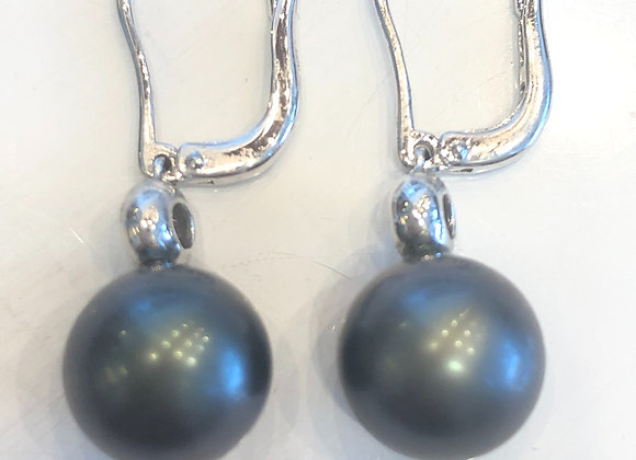 White Gold Pearl & Diamond Earrings