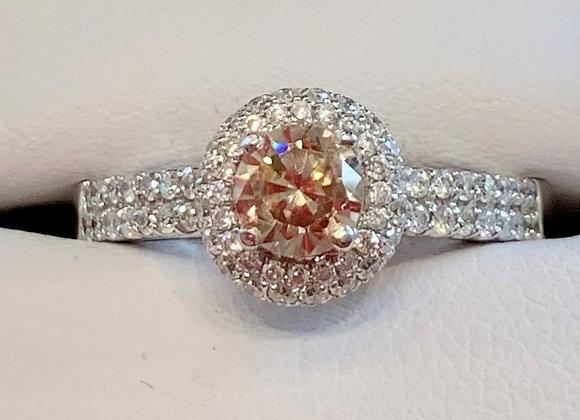 White Gold Cognac Diamond Cluster Ring