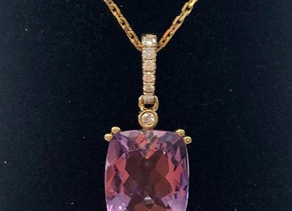 Yellow Gold Amethyst & Diamond Pendant
