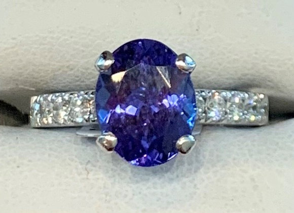 White Gold Tanzanite & Diamond Ring