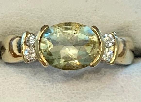 Yellow Gold Lemon Quartz & Diamond Ring