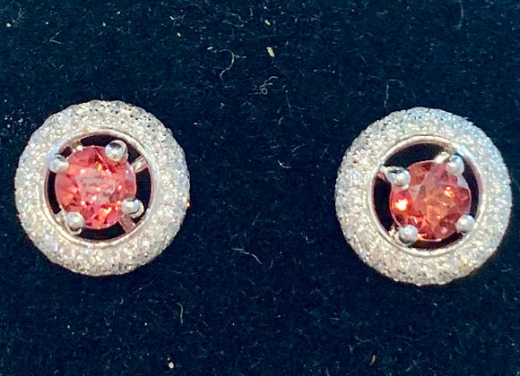 White Gold Diamond & Garnet Studs