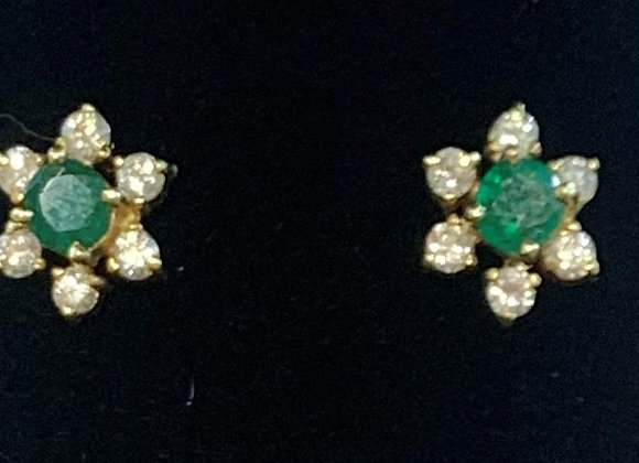 Yellow Gold Emerald & Diamond Earrings