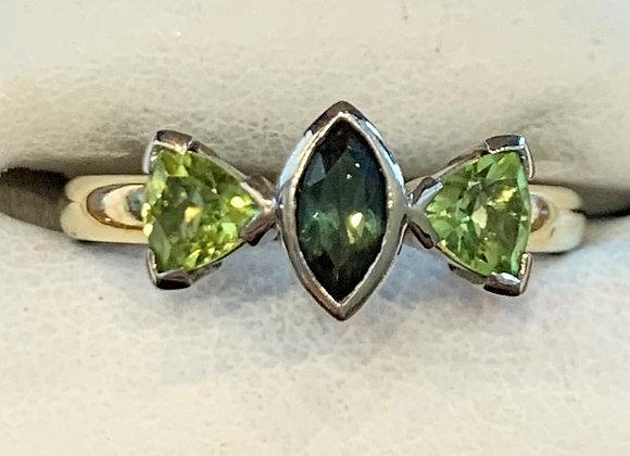 Yellow Gold Sapphire & Peridot Ring