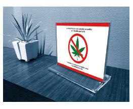Affichette de table Zero-Cannabis en acrylique 4.75x6po