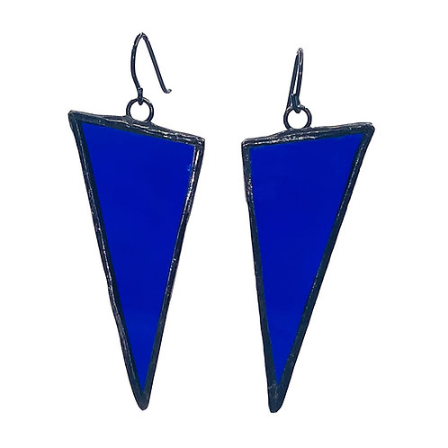 Large Triangle Earrings -Cobalt Blue