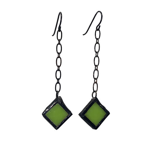 Chain-Linked Chartreuse diamond shaped Earrings
