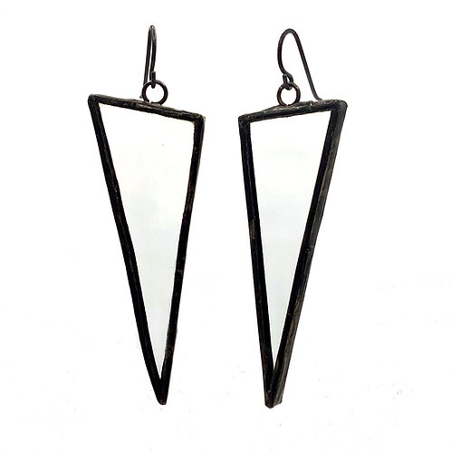 Large Triangle Earrings- Clear
