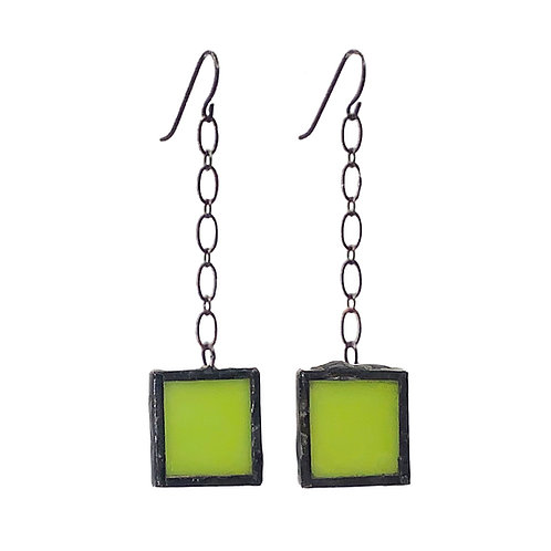 Chartreuse Glass Earrings - Chain-Linked