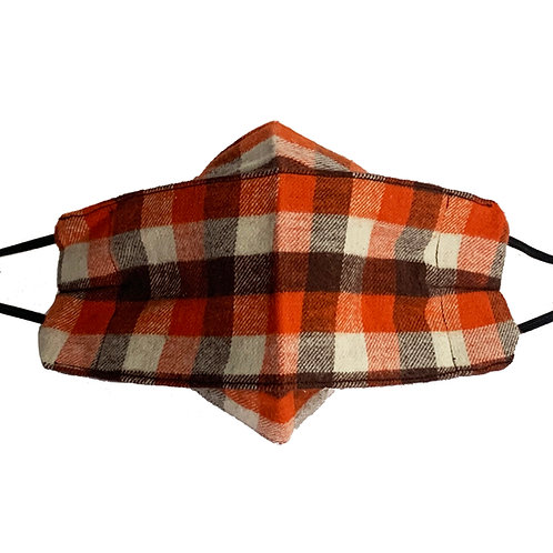 Origami Mask- Orange and Brown Flannel