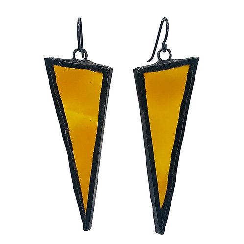 Large Triangle Earrings- Amber Texture