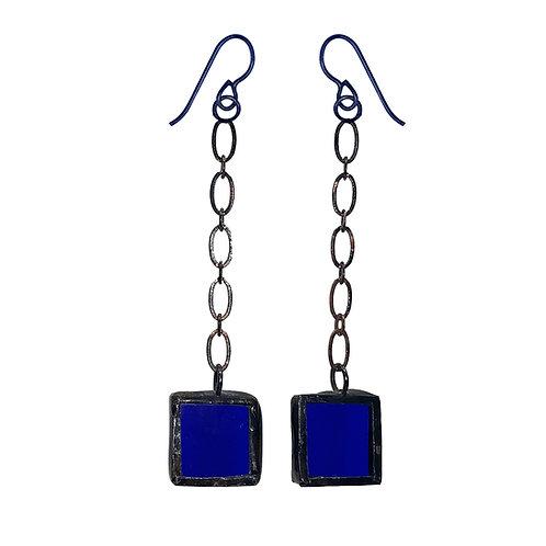 Chain-Linked Cobalt Blue Glass Earrings