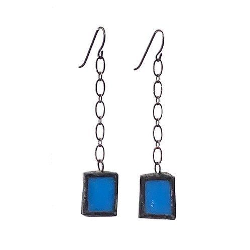 Blue Glass Earrings- Chain-Linked