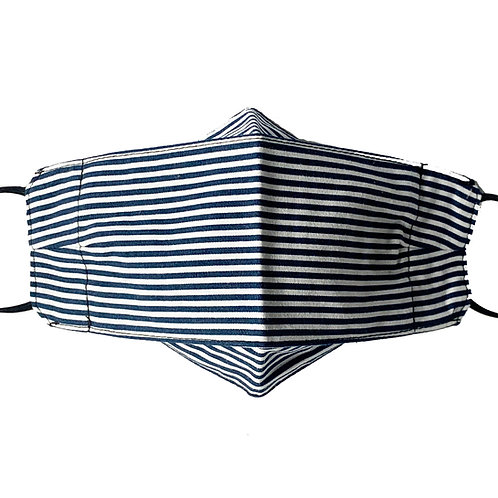 Origami Mask- Blue and White Stripe