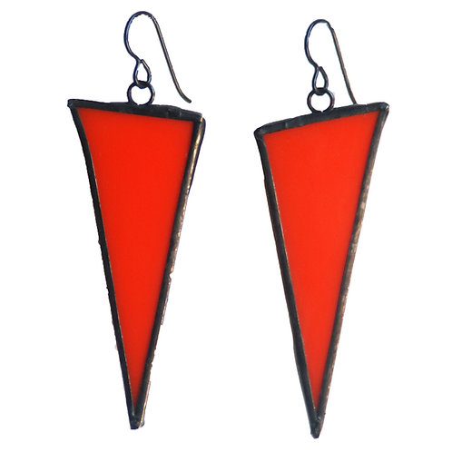 Large Triangle Earrings- Orange