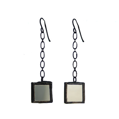 Mirror Earrings- Chain- Linked Square