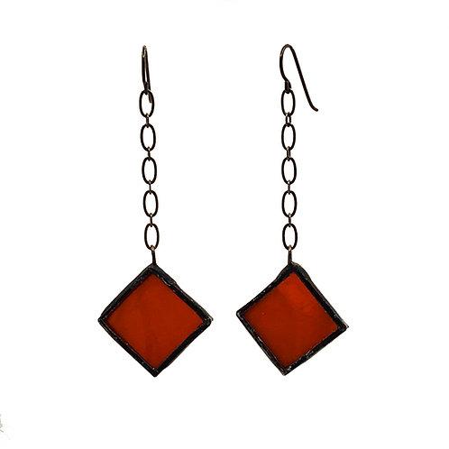Chain-Linked Red Diamond Shaped Earrings