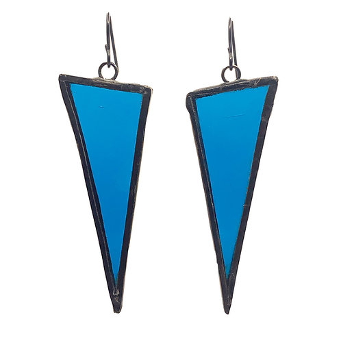 Large Triangle Earrings - Turquoise Blue