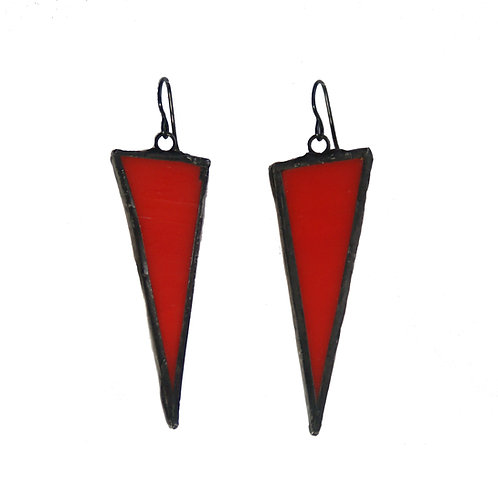 Large Triangle Earrings- Red