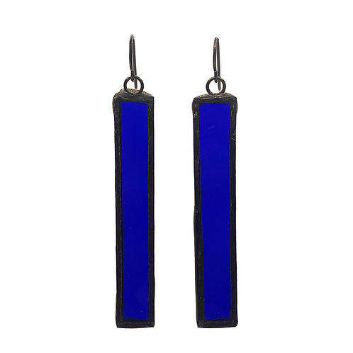 Long Rectangle Earrings- Cobalt Blue