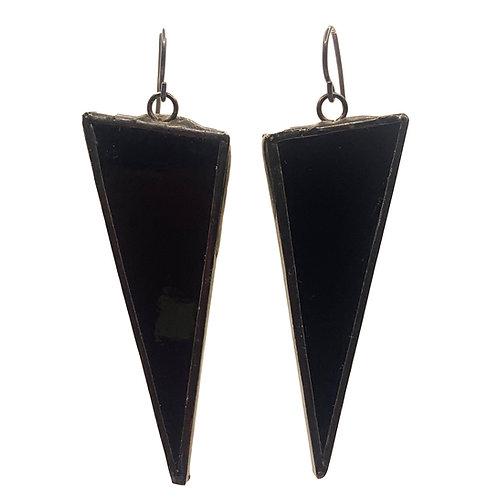 Large Triangle Earrings - Black on Black