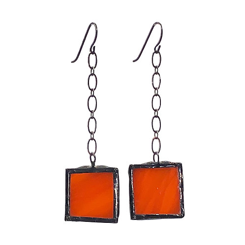 Orange Earrings, Chain-Linked