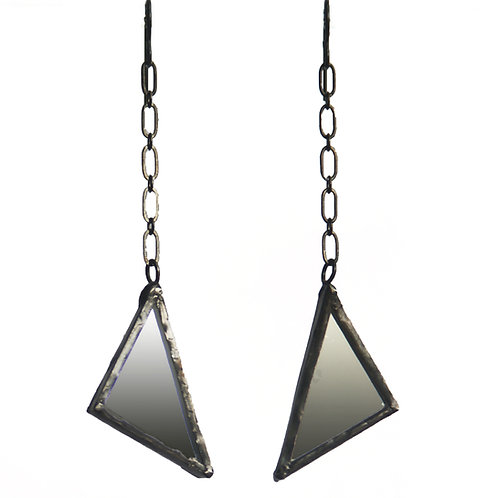 Chain-Linked Mirror Earrings