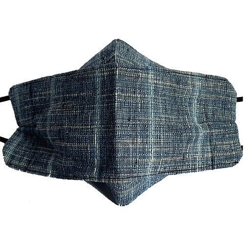 Fancy Origami Mask - Blue and Natural Woven Linen