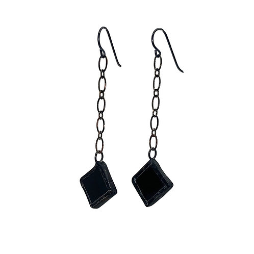 Chain- Linked Black Diamond Earrings