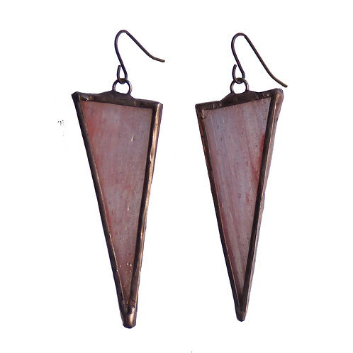 Large Triangle Earrings- Peach Iridescent
