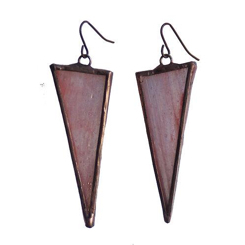 Large Triangle Earrings- Peach Iridescent