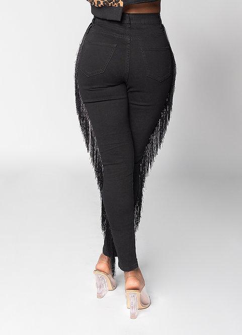 Rodeo Fringe Jeans (Black Denim)
