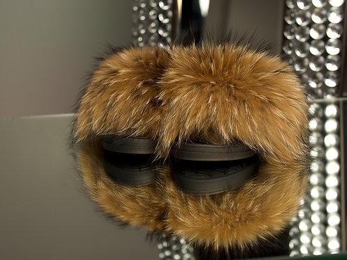 Natural Brown Raccoon Fur Slides
