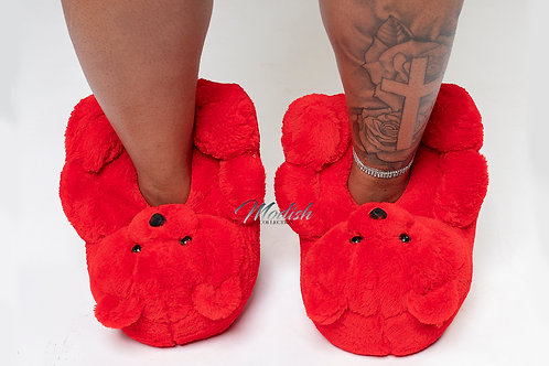 Modish Teddy Slippers Red