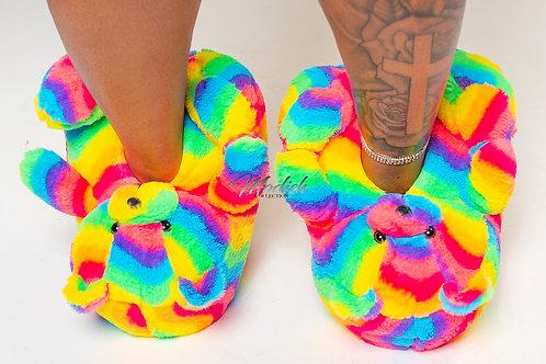Modish Teddy Slippers Rainbow