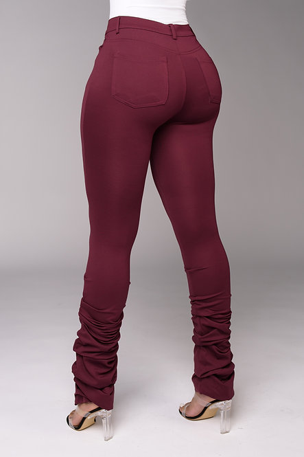 Bodied Stacked Pants (Burgundy)