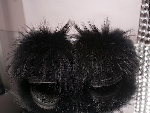 Noir Raccoon Fur Slides