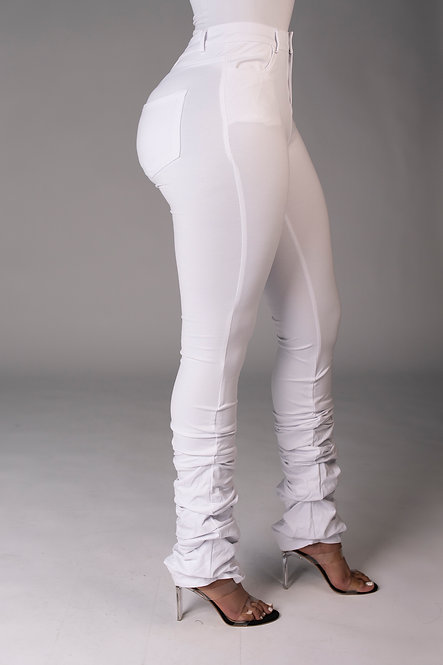 Bodied Stacked Pants (White)