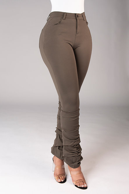 Bodied Stacked Pants (Olive)