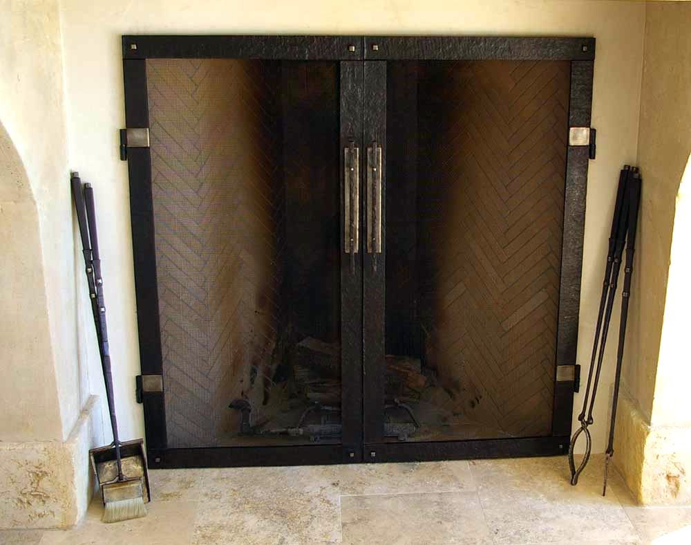 Stainless Firescreen and Fire Irons