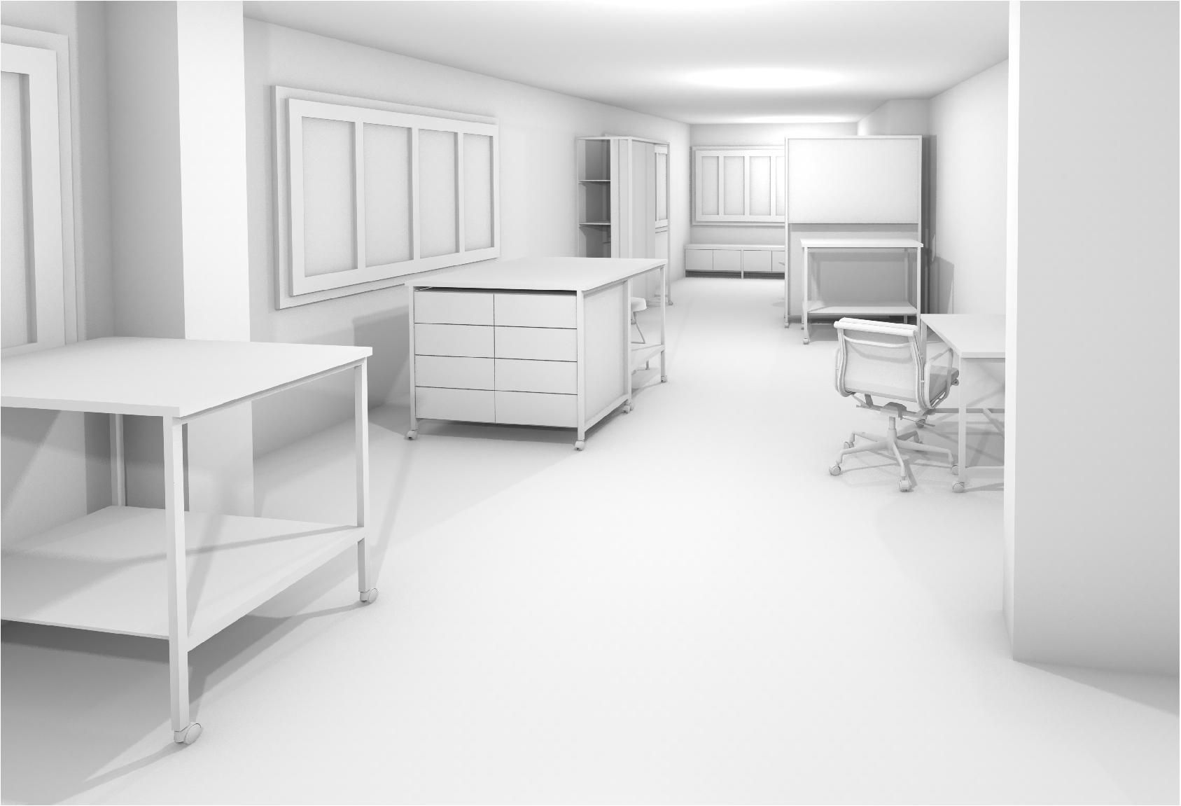Gipsmodell Rendering Arbeitsbereich Einrichtung 3