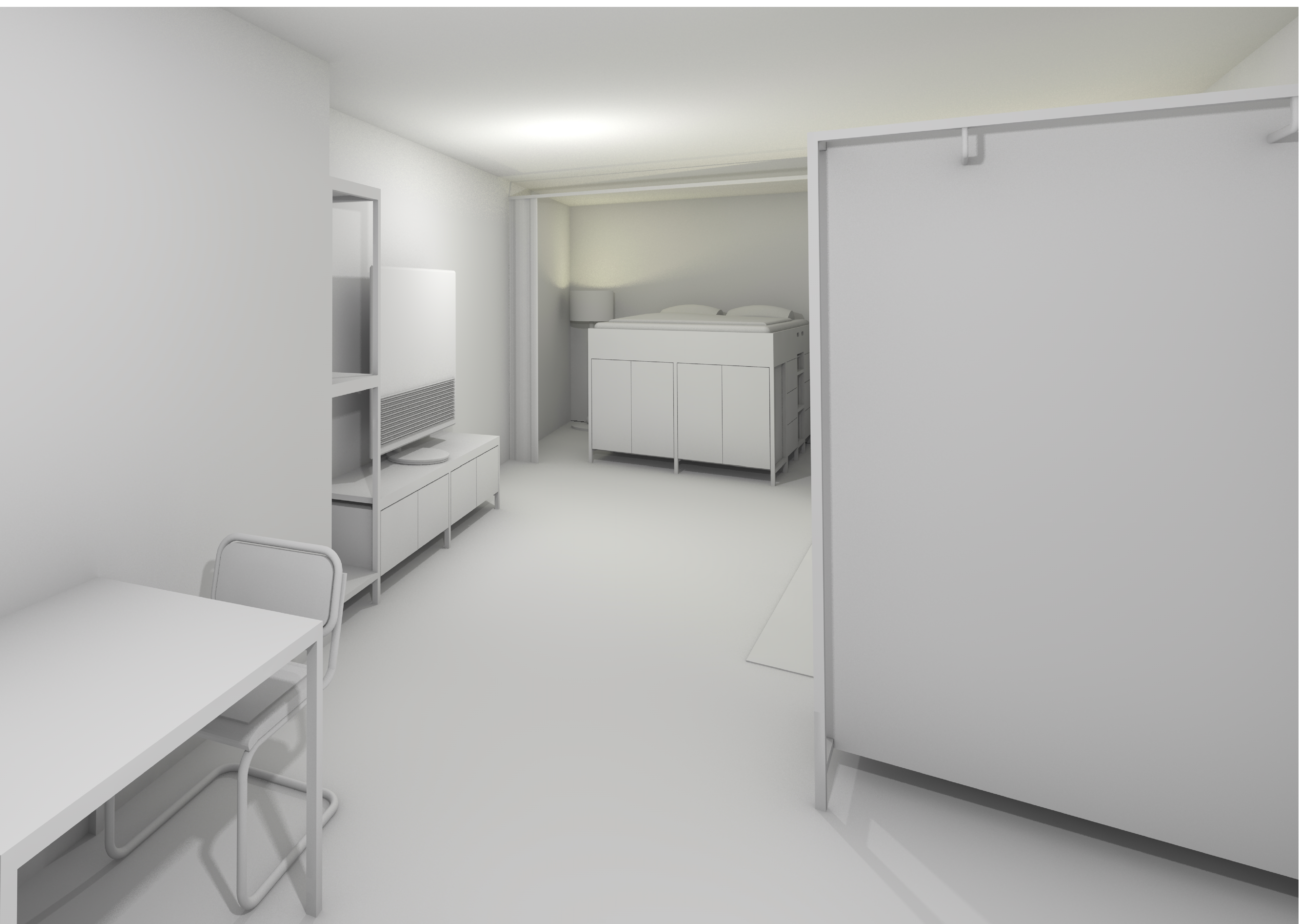 Rendermodell - Sicht ins Wohnzimmer