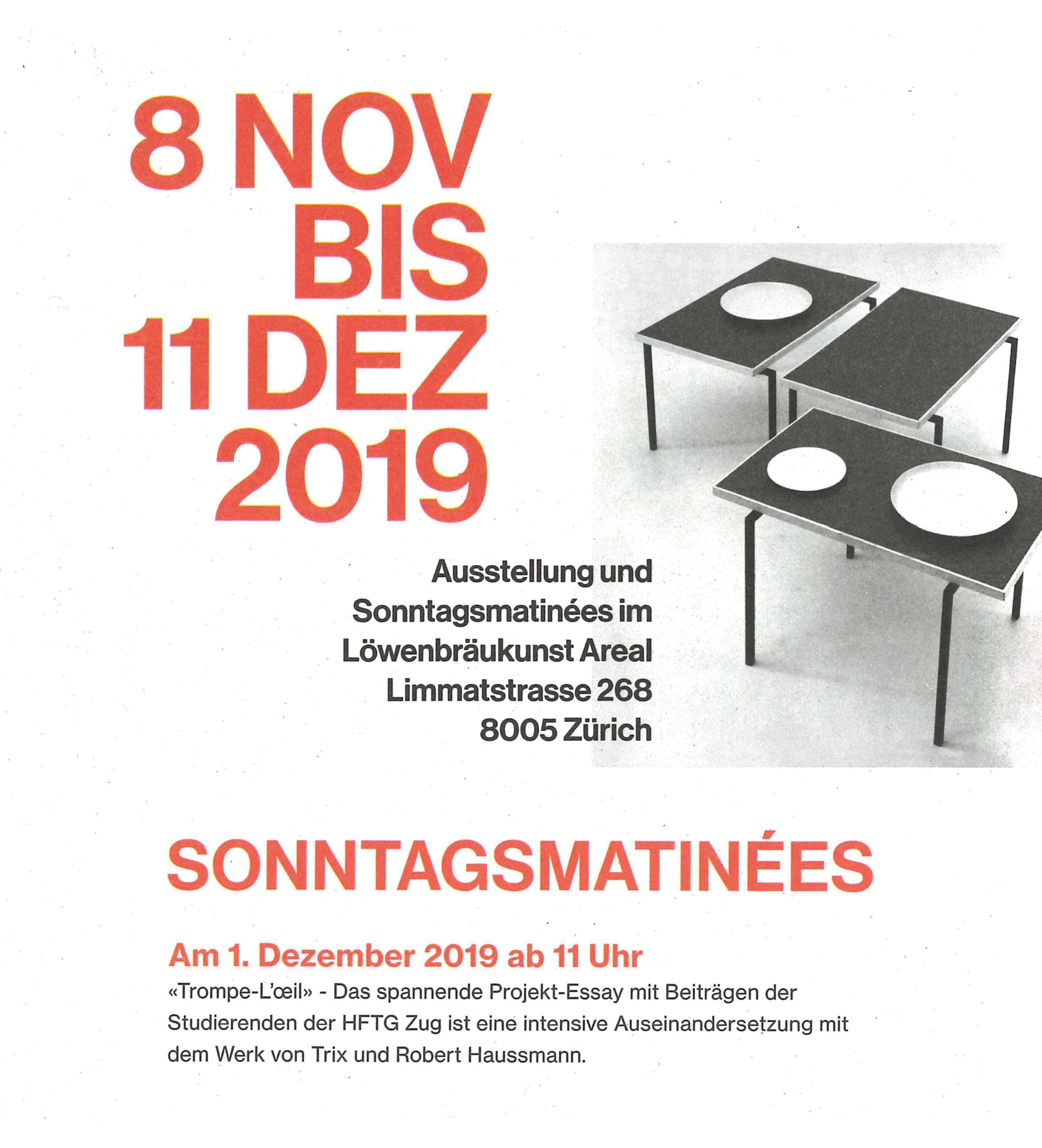 Flyer zur Ausstellung, Sonntagsmatinée
