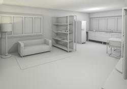 Gipsmodell Rendering Wohnbereich