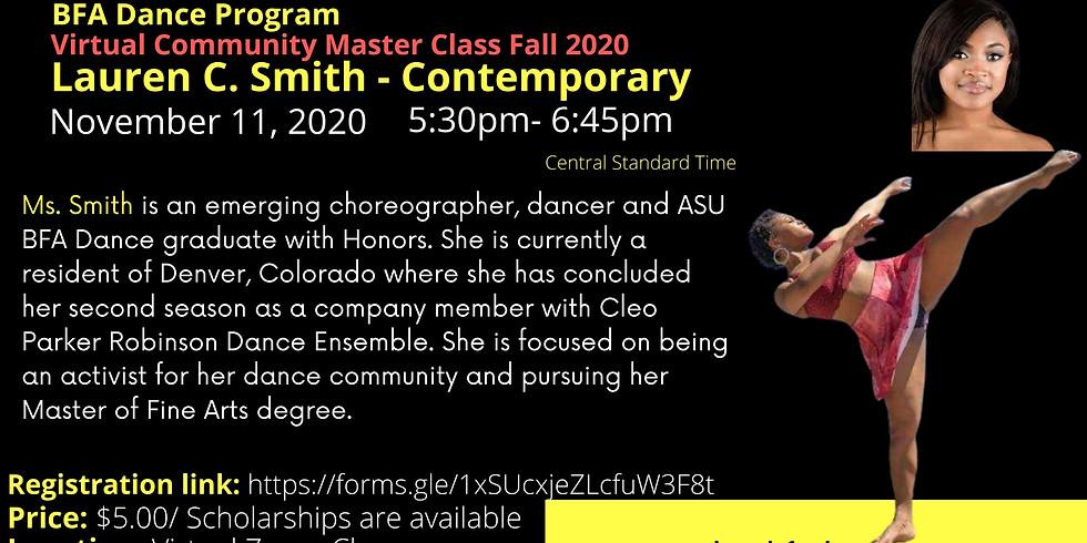 ASU BFA Dance Program Virtual Community Master Class Fall 2020