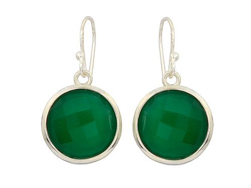This Is A Pair Of Green Onyx Earring Round Checkerboard 925 Sterling Silver Earrings