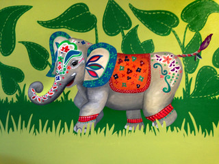 Painted elephant for jungle themed room