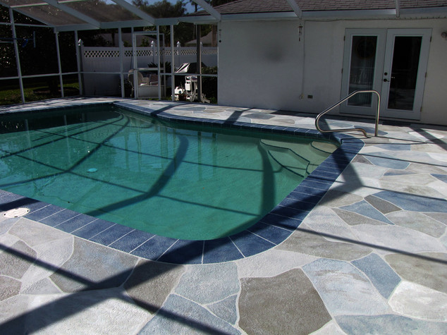 Painted Stone Pooldeck