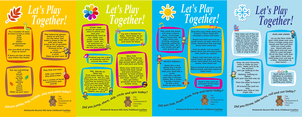 A set of play posters for indoor play with your preschooler.