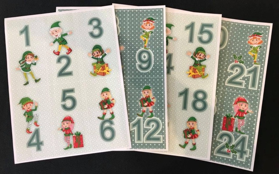 Colorful Christmas Elves countdown the 24 days until Christmas